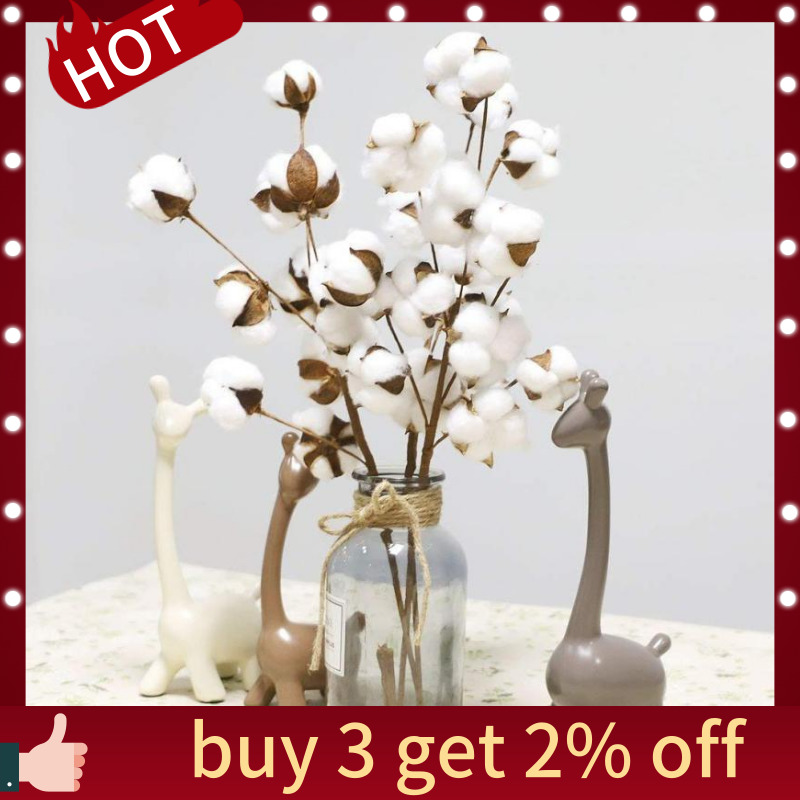 VGIA 3 Pack 21 Inch Cotton Stems Farmhouse Style Display Filler Floral Decoration