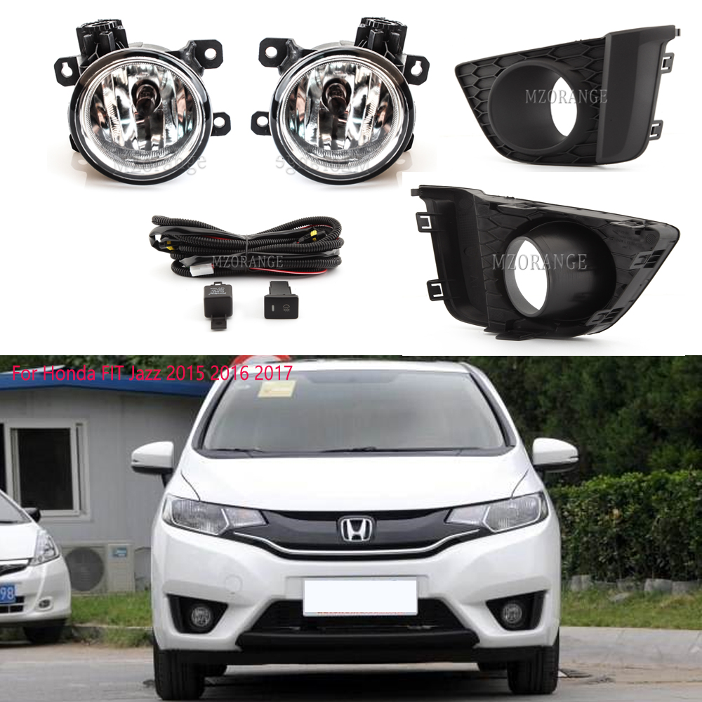 For <font><b>Honda</b></font> <font><b>FIT</b></font> Jazz <font><b>2015</b></font> <font><b>2016</b></font> 2017 Front Fog Light Lamp Switch Harness Cover Grille Fog lights Fog lamps image