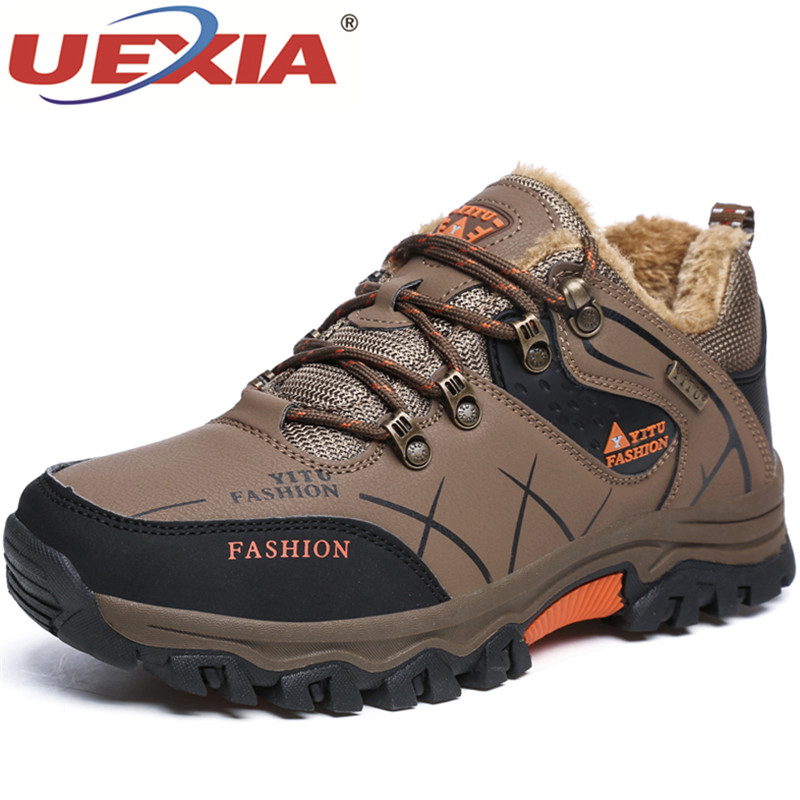 UEXIA New Outdoor Sport Boots Lycra Plush Fur Warm In Winter Shoes For Men High Quality Casual Sneakers Adult Footwear Walking