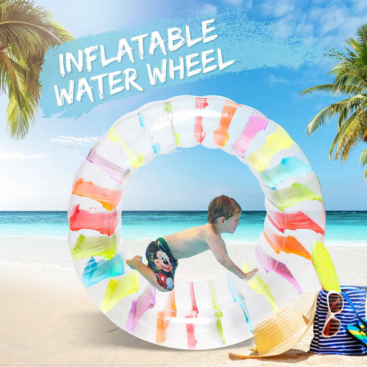 Inflatable Water Wheel Float Roller Pool Toy Swim Roll Beach Summer Game Party Colorful Swimming Pool Accessories PVC Material