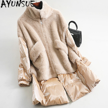 AYUNSUE abrigo de piel de oveja Real para Mujer, Chaqueta de plumas de lana para invierno, chaquetas largas coreanas para Mujer MY4101 2020