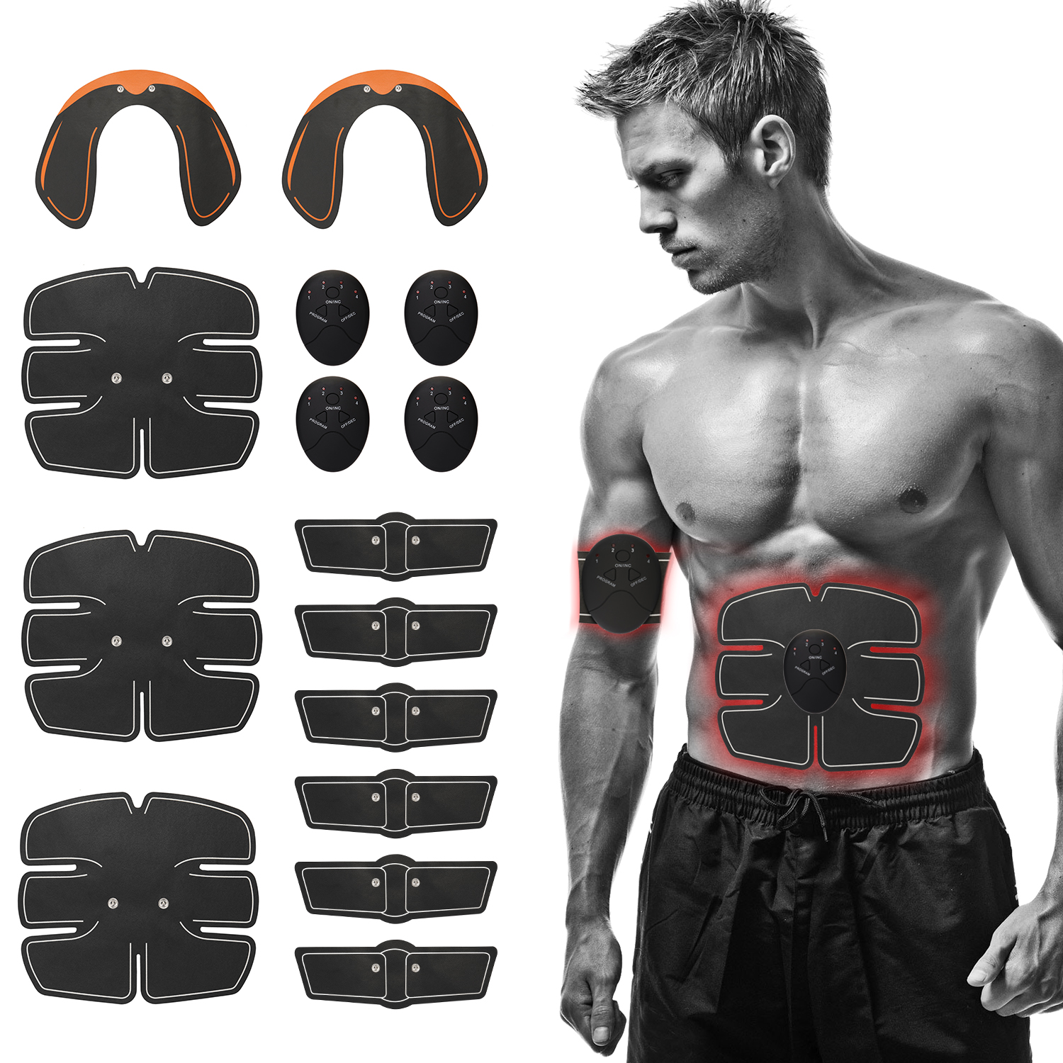 15pcs/Set ABS Abdominal Muscle Stimulator Training Gear Hip Trainer Set Gym Machine Exercise Fitness Equipment for Home Gym image