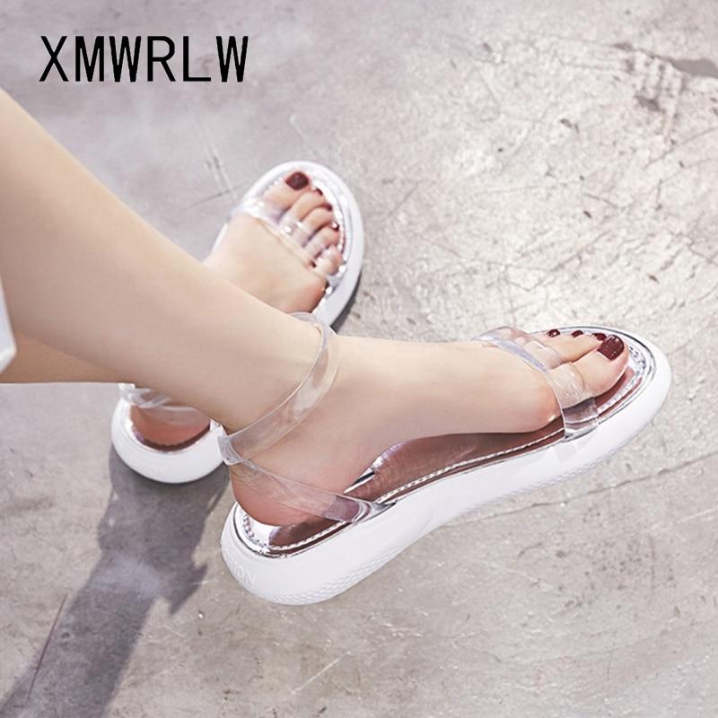 XMWRLW Women's Sandals 2020 Summer Fashion Transparent Flat Sandal For Women Summer Shoes Comfortable Female Beach Sandals Shoes