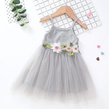 Kids Baby Girl Floral Princess Party Strap Tulle Dresses Casual Clothes Summer Fashion Children's Dress(China)