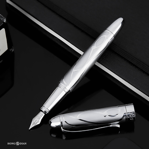Image 5 - HongDian معدن الفضة قلم حبر النهضة 5010 جميلة تنقش الإيريدوم EF/F بنك الاستثمار القومي الكتابة هدية قلم حبر لمكتب الأعمال