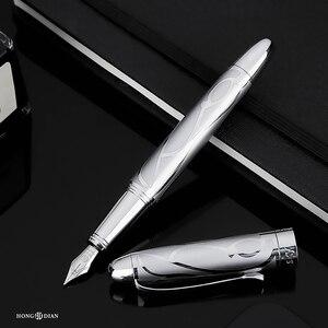Image 5 - HongDian โลหะ Silver Fountain Pen Renaissance 5010 สวยงาม Iridum EF/F Nib เขียนของขวัญปากกาปากกาสำหรับธุรกิจสำนักงาน