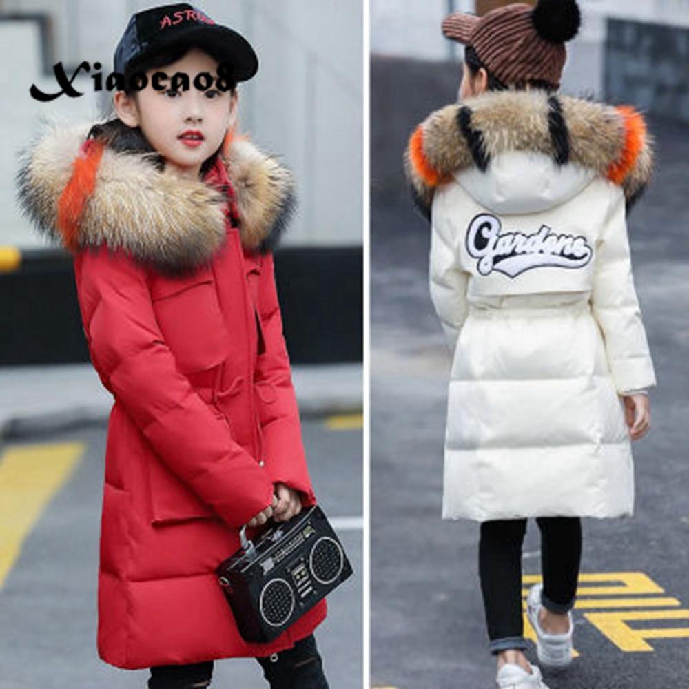 Зимняя куртка для девочек, детское длинное утепленное пальто, русский зимний комбинезон, меховая куртка с капюшоном для девочек, верхняя од...