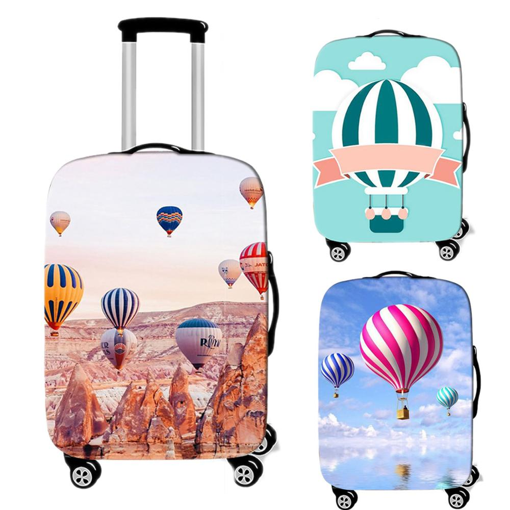Travel Accessories Cute Fire Balloon Luggage Case Protective Cover Waterproof Thicken Elastic Suitcase Trunk Case 18-32 Inch XL