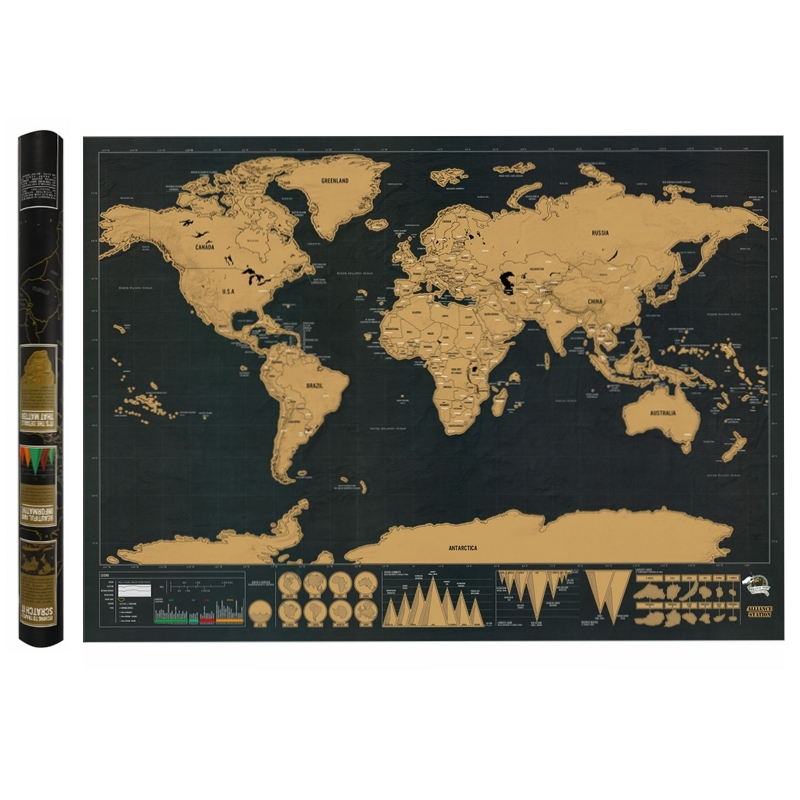 New 82.5x59.4cm Deluxe Black Scratch Off World Map Black Map Scratch With Cylinder Packing Office Room Decoration Wall Stickers