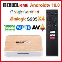 Mecool-Dispositivo de TV inteligente KM6 deluxe, decodificador con Android 10, Amlogic S905X4, 4GB, 64GB, compatible con Wifi6, AV1, BT5.0, 4K, 2 GB, 16 GB