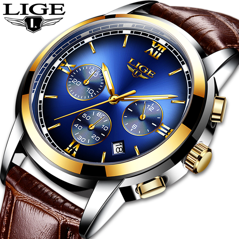 <font><b>LIGE</b></font> Mens Watches Top Brand Luxury Brown Leather Men's Sport's Watch For Men Casual Waterproof Quartz Watch Reloj Hombre 2019 image