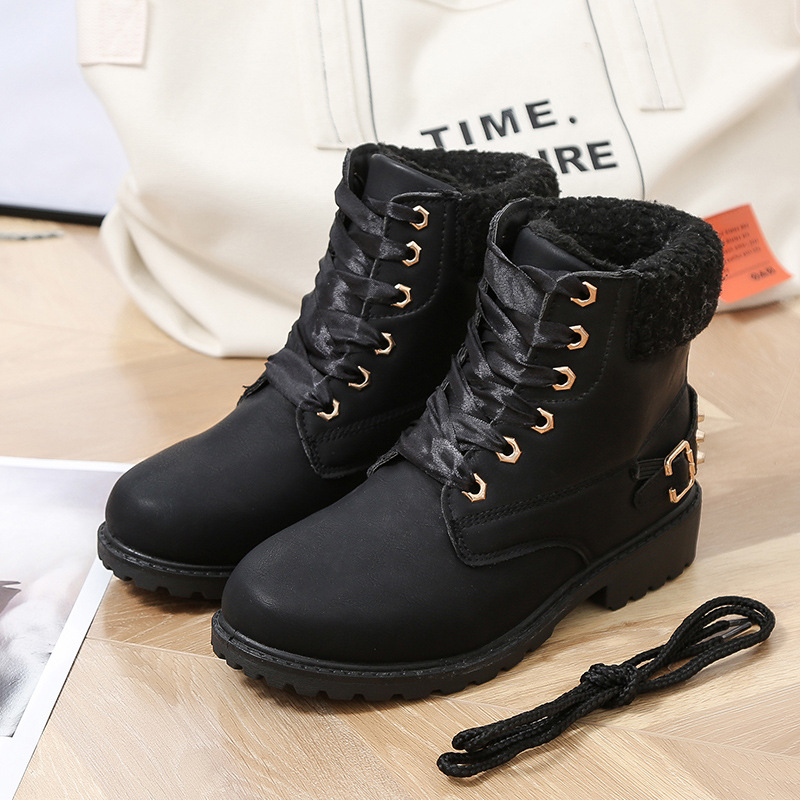 Size 43 women winter boots 2019 New Arrival Fashion Suede Women Snow Boots Metal rivet Warm Plush Women's Ankle Boots Flat shoes 30