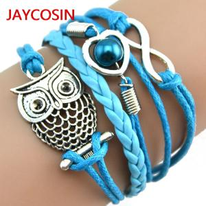Women Bracelet Charm Leather Pearl Gift Multilayer Infinity-Owl Fashion Lovely Hot-L4008021