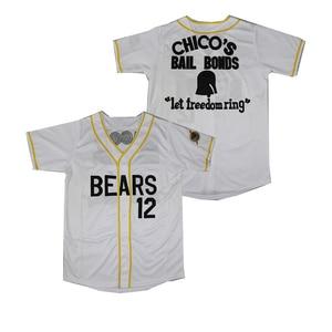 BG baseball jerseys BEARS 12 CHICO'S BAIL BONDS jersey Embroidery sewing logo Hip-hop loose Outdoor sportswear white black(China)