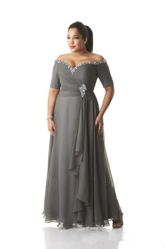 Gray Mother Of The Bride Dresses A-line Short Sleeves Chiffon Beaded Plus Size Long Groom Mother Dresses For Wedding