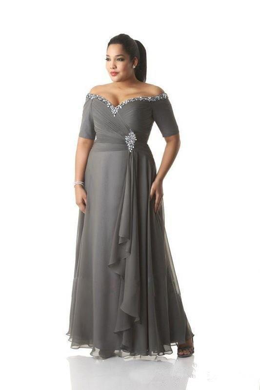 Vestidos de Mãe para o Casamento Mãe dos Vestidos de Noiva a Linha Cinza Mangas Curtas Chiffon Frisado Tamanho Grande Longo Noivo