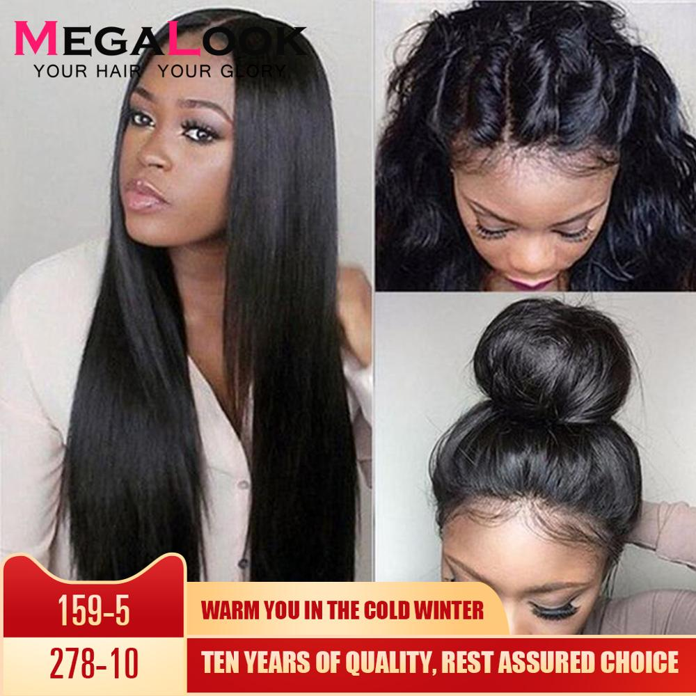 360 Lace Frontal Wig Straight Human Hair Wigs Brazilian Lace Frontal Wig Pre Plucked With Baby Hair For Women Megalook Remy 360