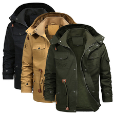 Men's Outdoor Hunting Coat Multi-Pocket Fleece Warm Winter Windproof Hiking Jacket Camping Cotton Big Size for Sports