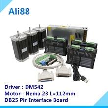 3 оси ЧПУ маршрутизатор комплект 3Nm/425 oz. in Nema 23 шаговый двигатель и DM542 серводвигатель чпу мельница маршрутизатор токарный станок+ DB25 секционная плата