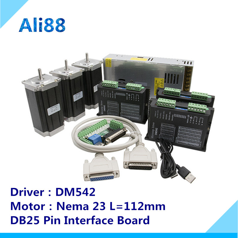 Kit de routeur CNC 3 axes 3Nm/425oz. in Nema 23 moteur pas à pas et DM542 servomoteur CNC routeur tour + DB25