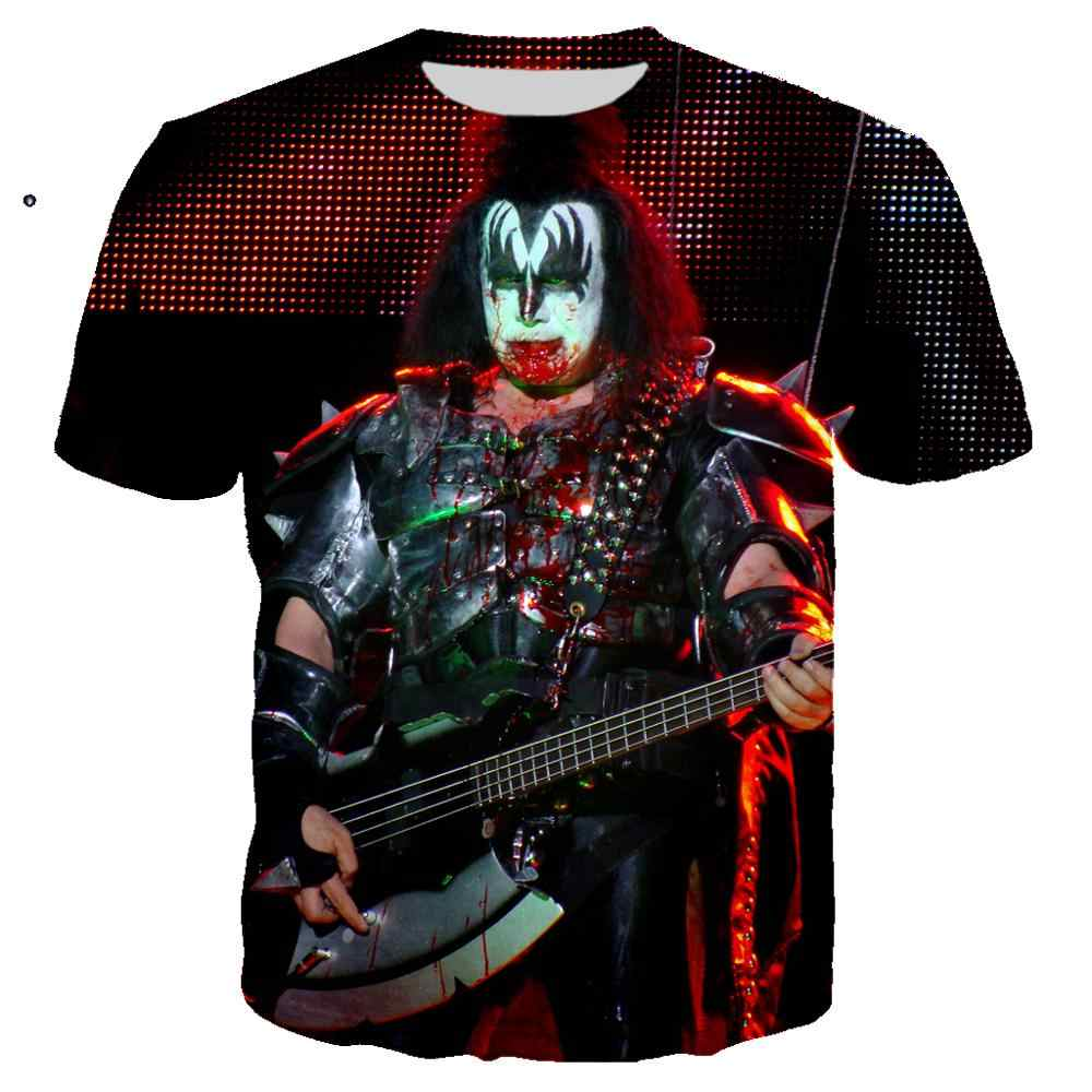 ポップジーン · シモンズギターtシャツ 3Dプリントkissバンドロックtシャツ男性女性ropaカジュアルストリートヒップホップoネックtシャツシャツ服