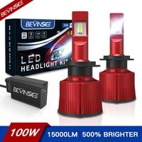 Bevinsee 100W H7 H4 LED Canbus HB3 9005, 9006 de 9012 H8 H9 H11 lámpara LED 15000LM de alta potencia de los faros de luz de niebla 12V 2 uds