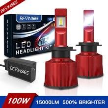 Bevinsee v35 100w 15000lm h7 faróis led vc tecnologia de refrigeração 9005 9006 9012 h4 lâmpadas led csp 6000k h8/h9/h11 carro lâmpadas luz de nevoeiro