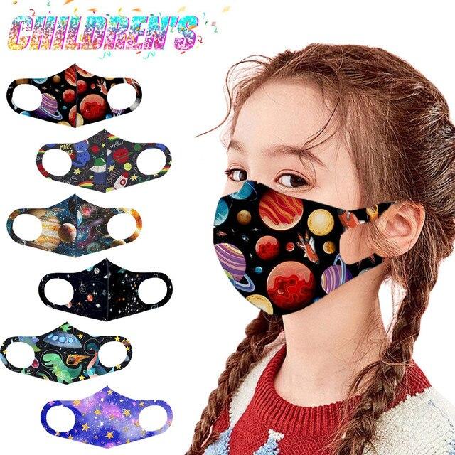 1 pçs crianças máscaras de rosto lavável reutilizável capa de rosto moda impresso gelo máscara de seda respirável máscara de capa de boca mascarilla 2
