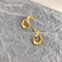 Timeless Wonder Titanium Geo Twist Hook Statement Stud Earrings Stainless Steel Jewelry Gothic Christmas Gifts Unique 3246 geo print twist front dress