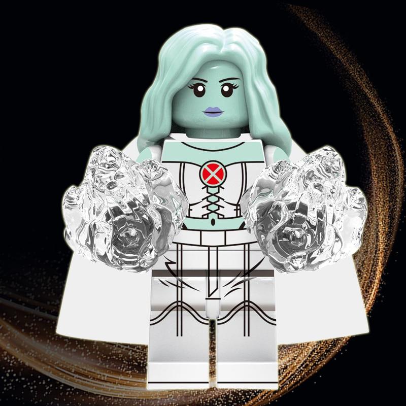 White Queen Emma Grace Frost Legoeinglys Marvel X-Men Super Heroes MINIFIGURed Iceman Psylocke Blocks Toys Model Children Gifts