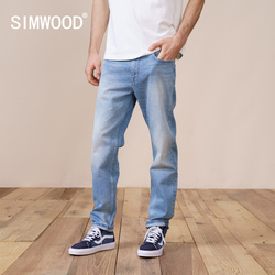 Simwood 2021 Lente Nieuwe Regular Straight Jeans Mannen Mode Ripped Casual Denim Broek Plus Size Merk Kleding SK130189