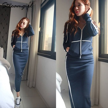 Autumn Winter 2 Piece Outfits For Women Hoodie Sweatshirt Suit Skirt Two Piece Set Top And Skirt Set Tracksuit Women Autumn 1