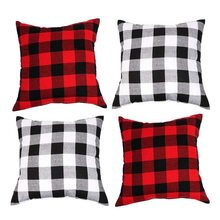 4 piece checkered pillow case flower plaid christmas cotton