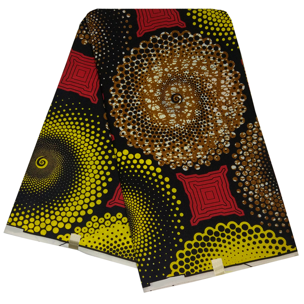 Wax-Fabric Printed Nigeria Ankara Yellow African And Red-Pattern DIY 6yards New-Design title=
