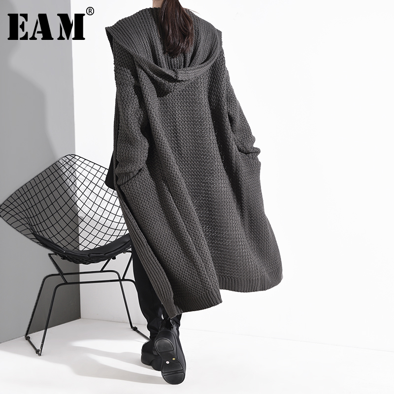 [EAM] Gray Big Size Long Knitting Cardigan Sweater Loose Fit Hooded Long Sleeve Women New Fashion Tide Spring 2020 BL81402