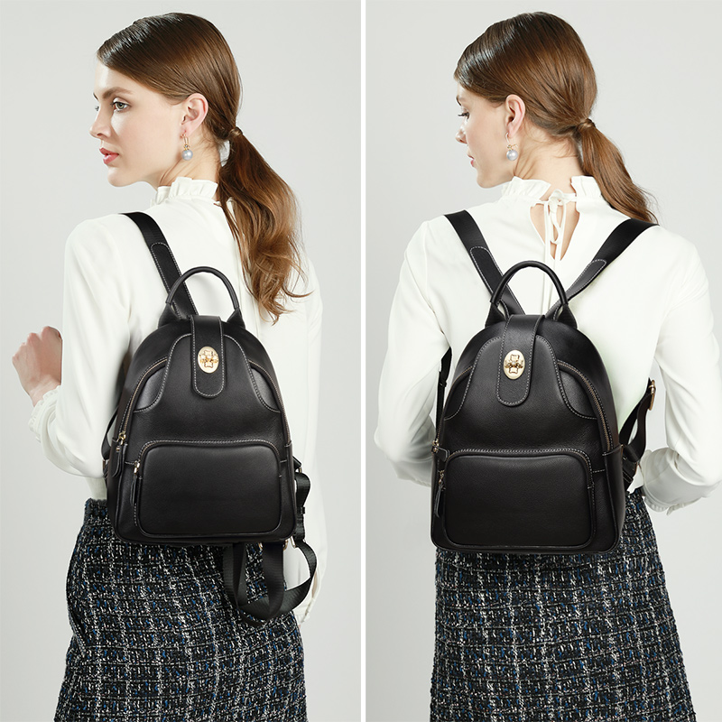 Foxer Teeny Women Genuine Leather Backpack Black