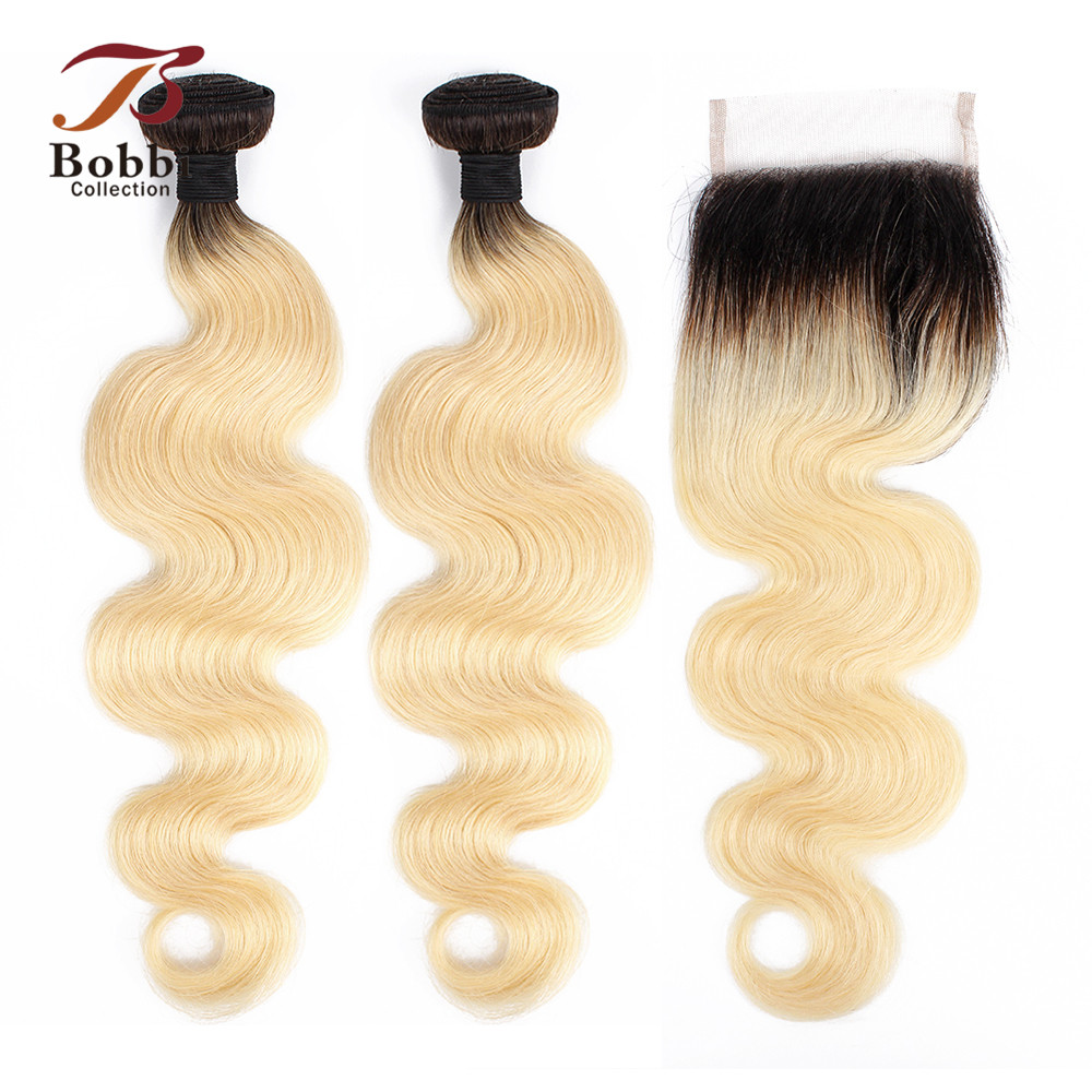 BOBBI COLLECTION Ombre T 1B 613 Bundles With Closure Dark Root Platinum Blonde Brazilian Body Wave Remy Human Hair 10-28 Inch