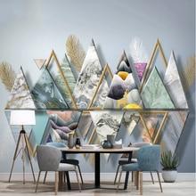 Customization Nordic Modern Minimalist Sticker Three-Dimensional Geometric Light Luxury Feather TV Background Wall Painting 2020
