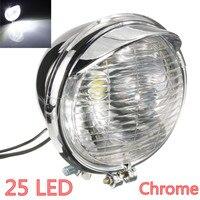 12V Universal Motorrad 25 LEDs Scheinwerfer Kopf Lampe Chrom Fall 5-zoll Motorrad LED Scheinwerfer Motorrad Wasserdichte Lam