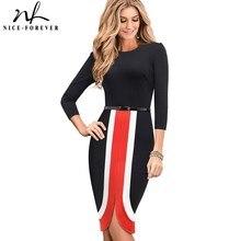 Хорошее-forever элегантное контрастное цветное лоскутное vestidos деловые вечерние облегающее тонкое осеннее женское платье B549