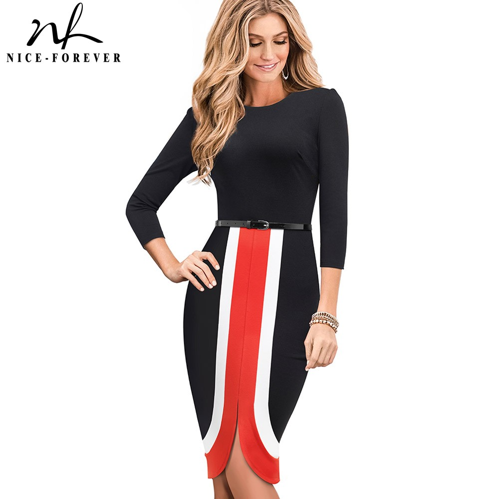 Nice-forever Elegant Contrast Color Patchwork Vestidos Business Party Bodycon Sheath Slim Autumn Women Dress B549