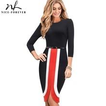 Nice forever Elegant Contrast Color Patchwork vestidos Business Party Bodycon Sheath Slim Autumn Women Dress B549