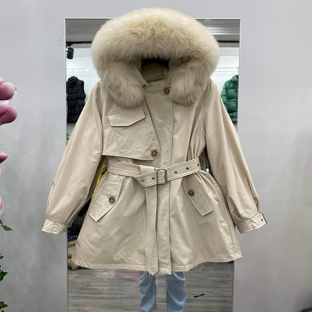 women/'s thicken 90/% white duck down huge fox fur collar jacket coat hooded parka