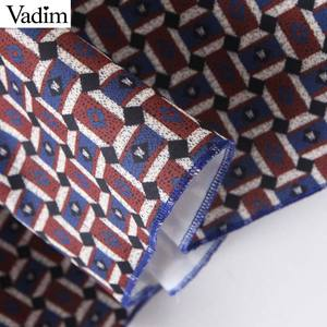 Image 5 - Vadim women chic oversized print blouse lantern sleeve vintage shirt female stylish office wear chic tops blusas LB792