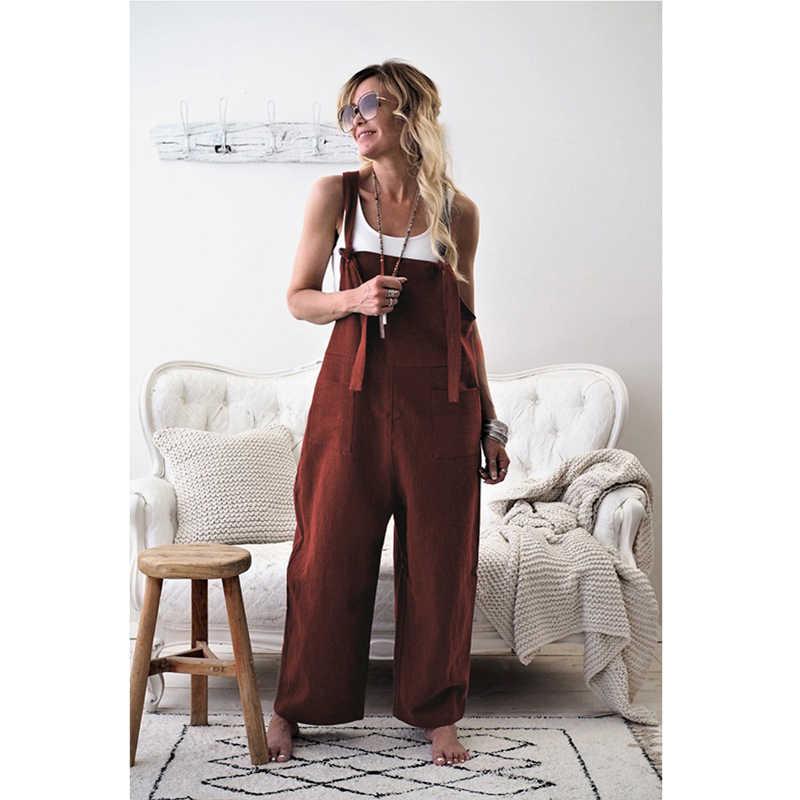Модные женские повседневные Свободные Комбинезоны комбинезон широкие брюки ремень Harajuku шаровары брюки плюс размер карман Длинные Комбинезоны
