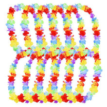 1/5/10 Pcs Artificial Hawaiian Garland Necklace Hawaii Flowers Party Supplies Beach Fun Wreath DIY Wedding Decorations Gift(China)