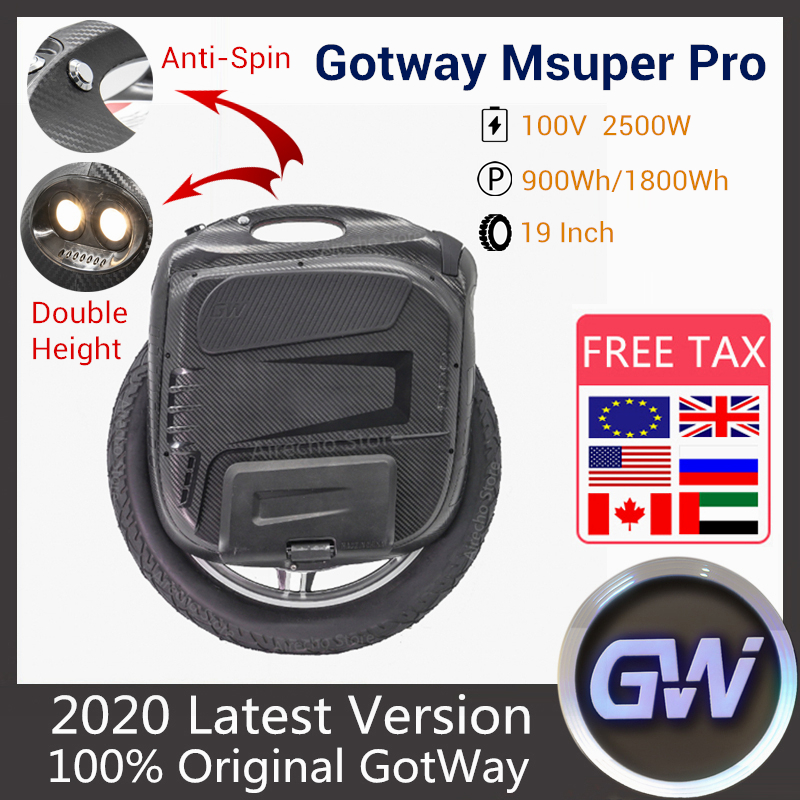 Presell 2020 New Gotway Msuper Pro Unicycle Electric Monowheel One Wheel Self Balance Scooter 2500W 100V 900WH/1800WH With APP
