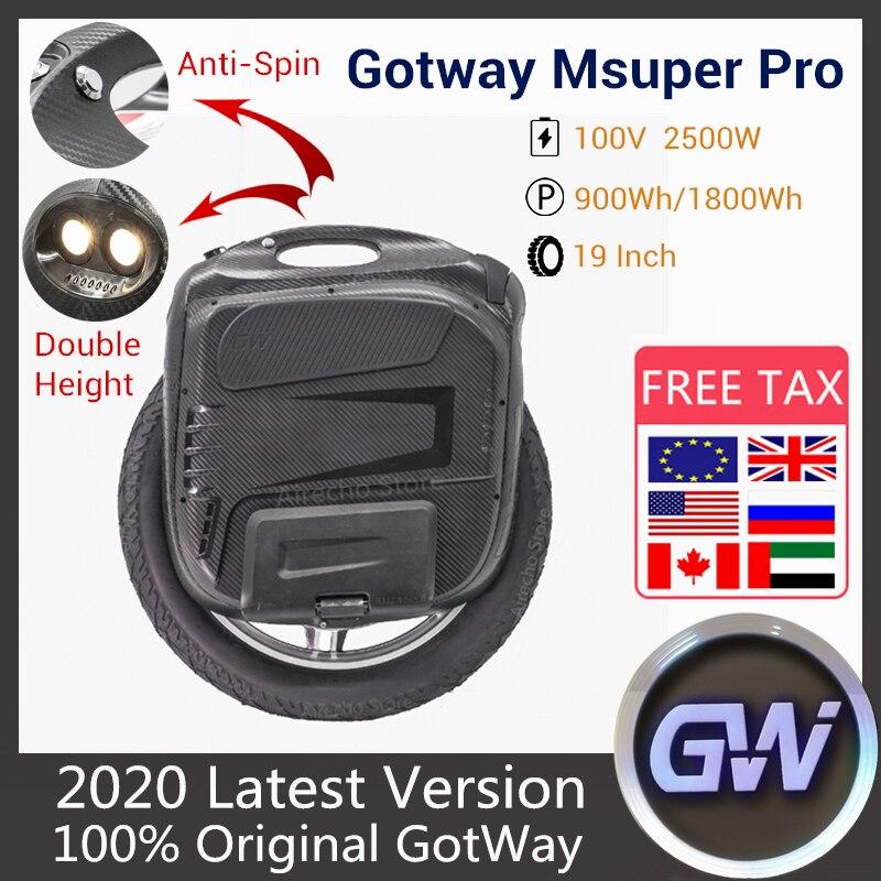 Presell 2020 nova gotway msuper pro monowheel elétrico uma roda auto equilíbrio scooter 2500 w 100 v 900wh/1800wh com app