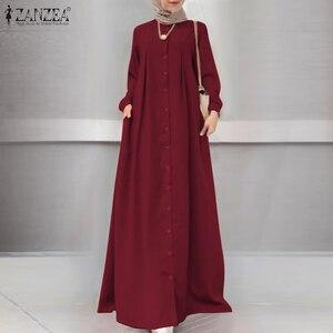 ZANZEA винтажный хиджаб мусульманское платье осеннее женское длинное платье макси с длинным рукавом на пуговицах Сарафан Повседневная мусульманская одежда Caftan Robe