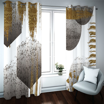 European 3D Curtains Simple graphics design Curtains For Living Room Bedroom Customized size Luxury Blackout 3D Window
